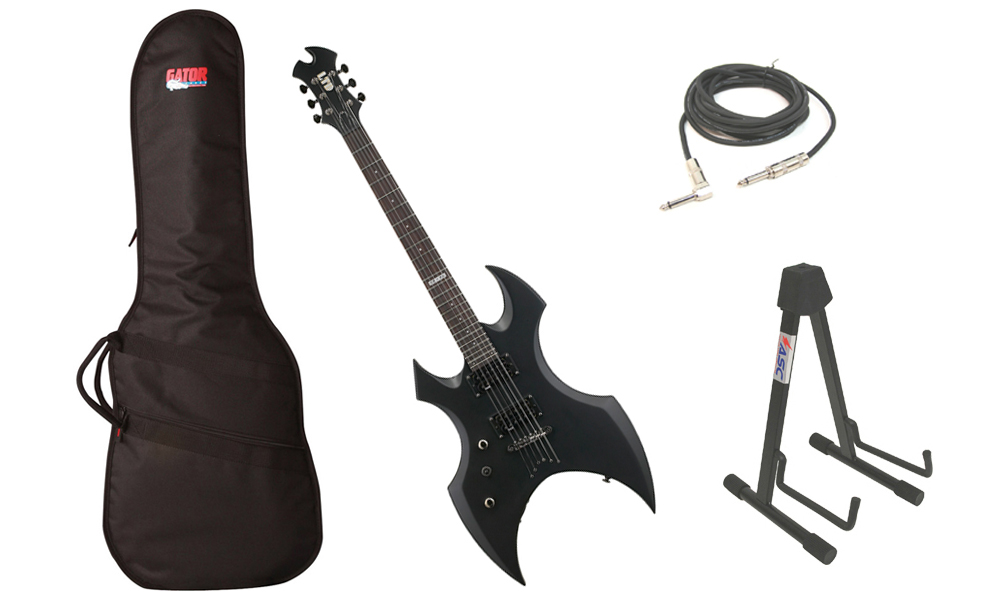 "ESP LTD AX-50 Series 6 String Basswood Body Black Satin Electric Guitar (Left Hand) with Travel Gig Bag, Stand & 1/4"" Cable"