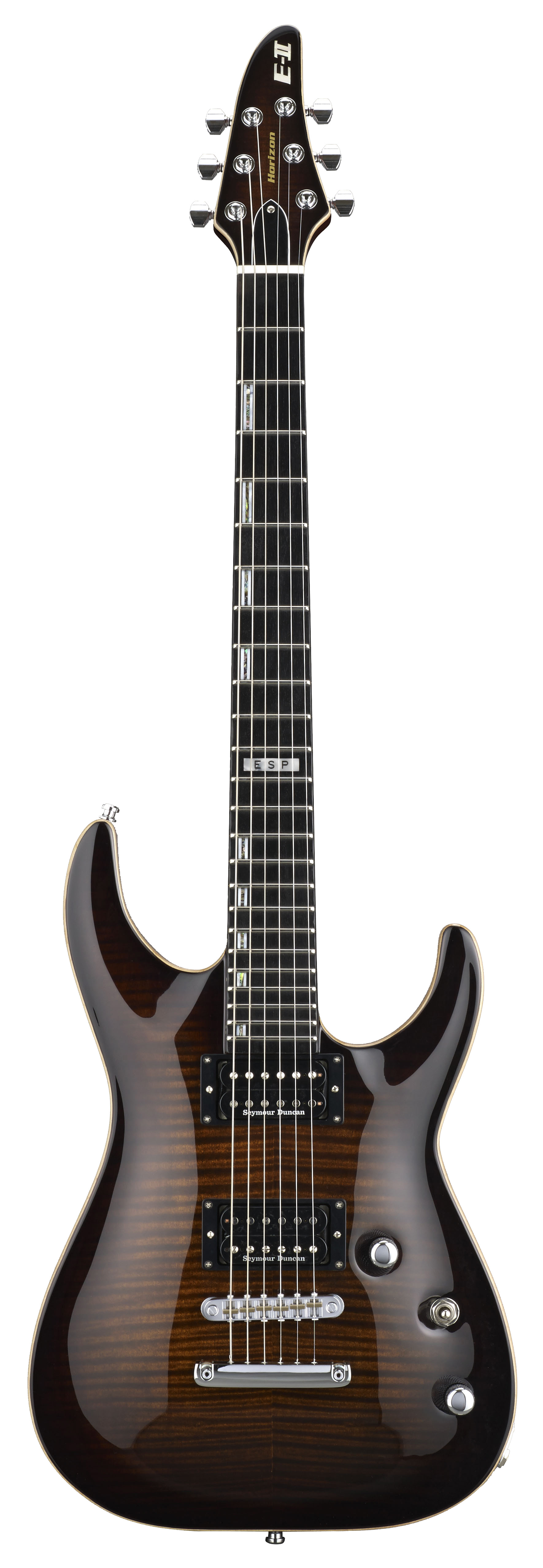 ESP HORIZON FM NT DBSB E-II FM/NT Electric Guitar with Case and Dark Brown Sunburst Finish