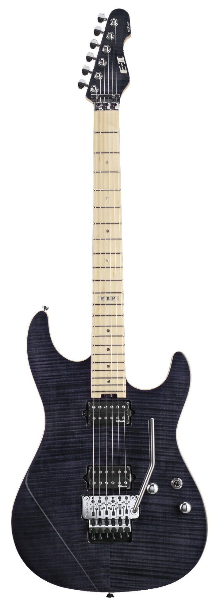 ESP ST-2 MAPLE STBLK E-II ST Flamed Electric Guitar with See Thru Black Finish