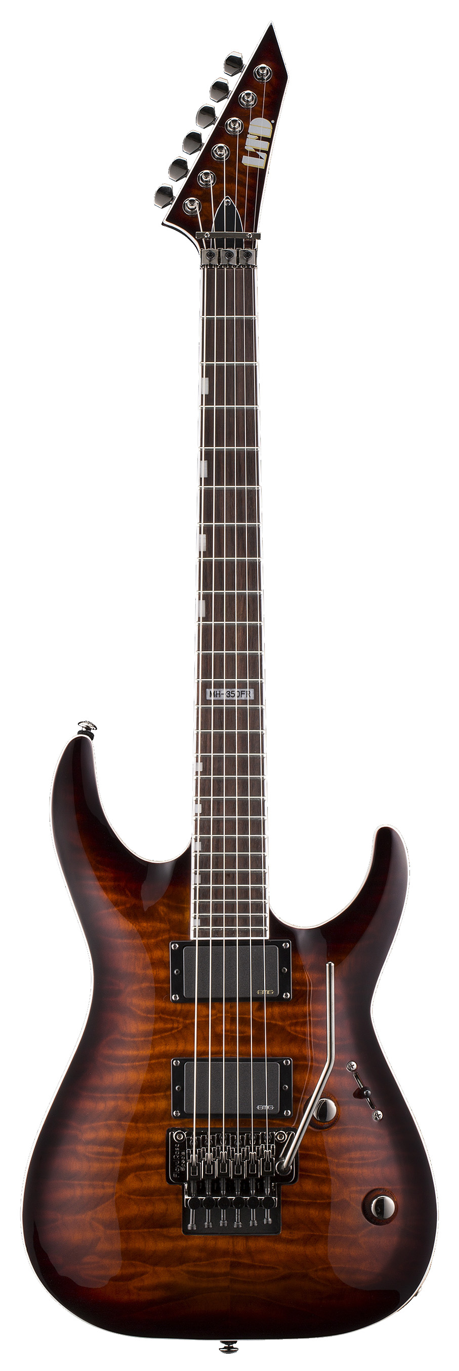 ESP LTD MH-350FR DBSB MH SERIES Electric Guitar with Quilted Maple Top Dark Brown Sunburst Finish