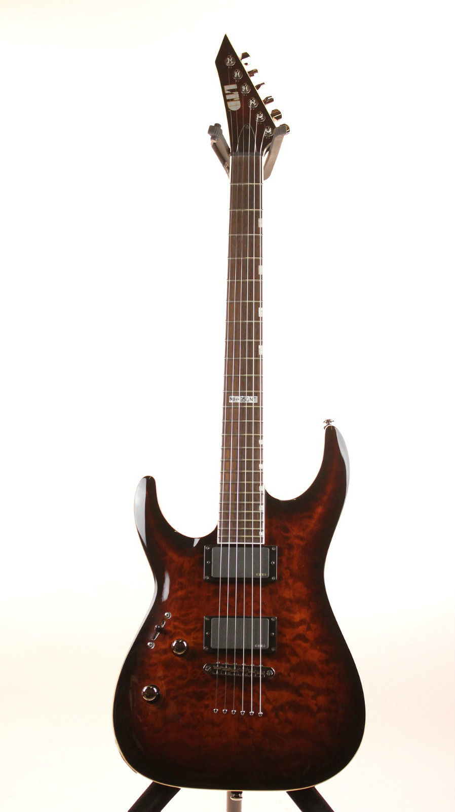 ESP LTD MH-350NT DBSB LH MH Series Left Handed Electric Guitar with Quilted Maple Top Dark Brown Sunburst Finish