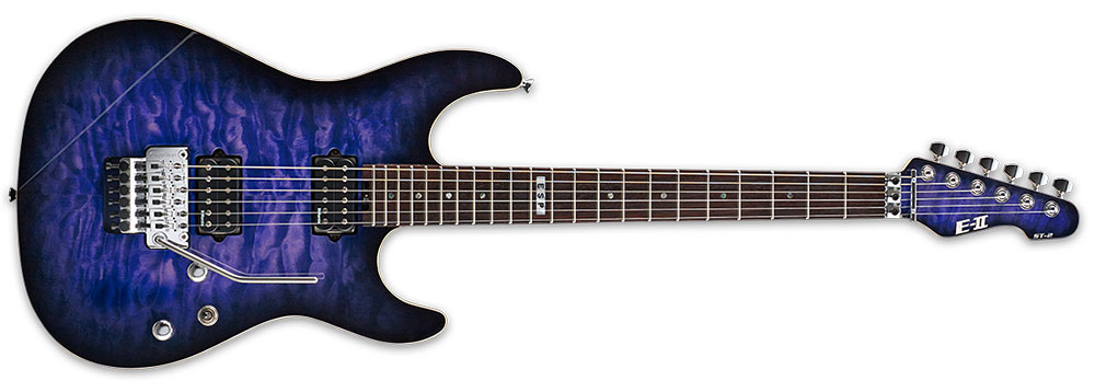 ESP E-II ST2QMR RDB 6-String ST Series Quilt Maple Top Electric Guitar - Reindeer Blue Finish (EIIST2QMRRDB)