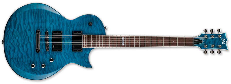 esp ltd ec 200 ec series electric guitar quilt maple see thru blue finish quilted maple top. Black Bedroom Furniture Sets. Home Design Ideas
