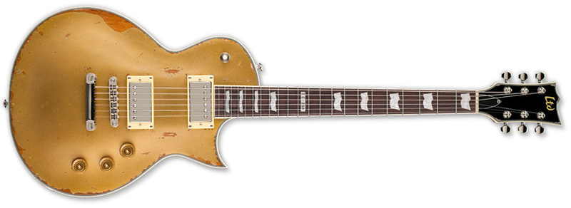 ESP LTD EC-256 DISTRESSED Series Electric Guitar - Aged Vintage Gold Mahogany Body & Rosewood Fingerboard (LEC256AVG)