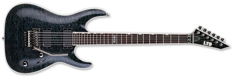 ESP LTD MH-350 FR MH-Series Electric Guitar - See Thru Black Finish Mahogany Body & Quilted Maple Top (LMH350FRSTBLK)