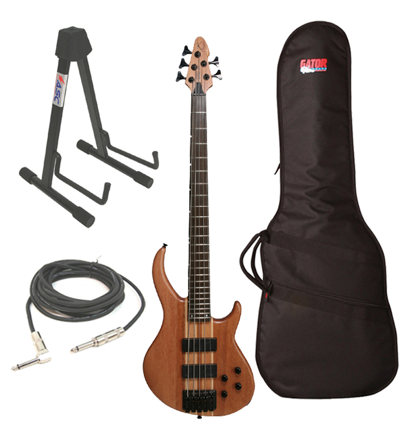 """Peavey Grind Bass Electric 5 String Guitar Natural Finish with Gig Bag, 1/4"""" Cable & Stand Package"""