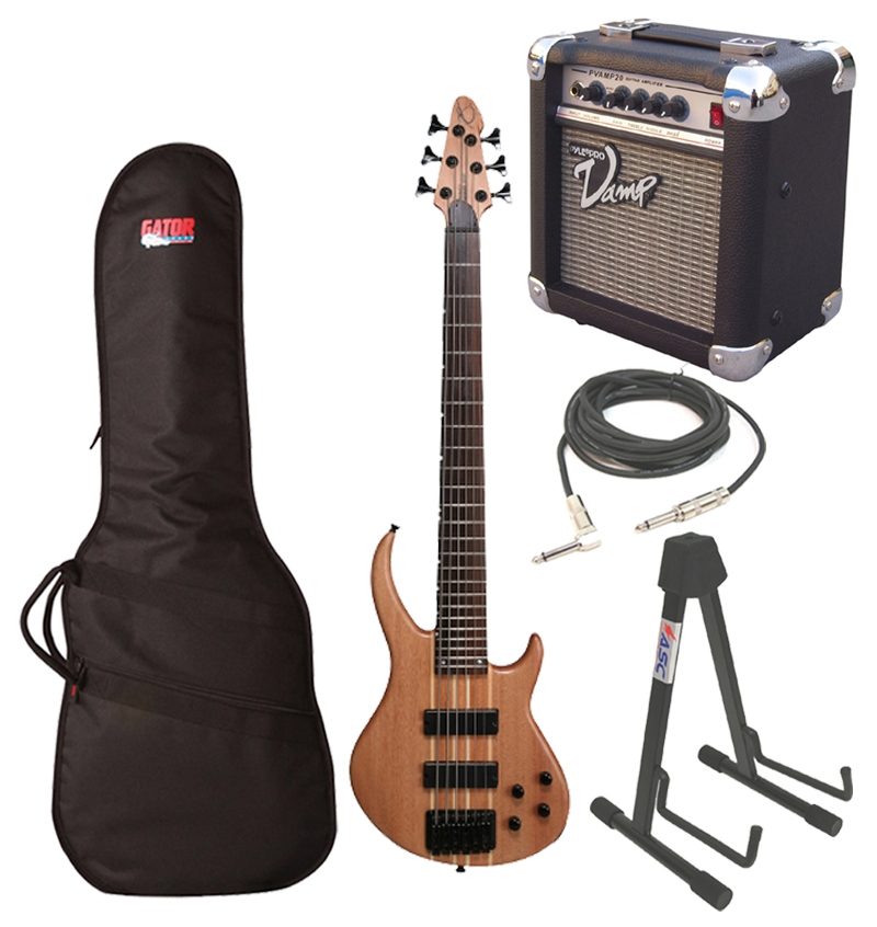 "Peavey Grind Bass Electric 6 String Guitar Natural Finish with Gig Bag, 1/4"" Cable, Stand & PVAMP20 Combo Amp"