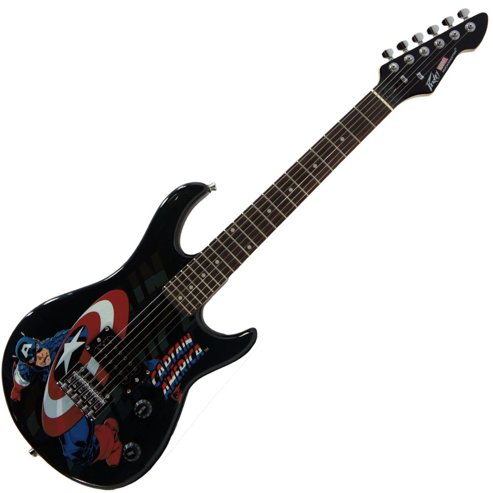 Peavey Rockmaster 3/4 Student Marvel Captain America 21 Fret Maple Neck First Beginner Electric Guitar