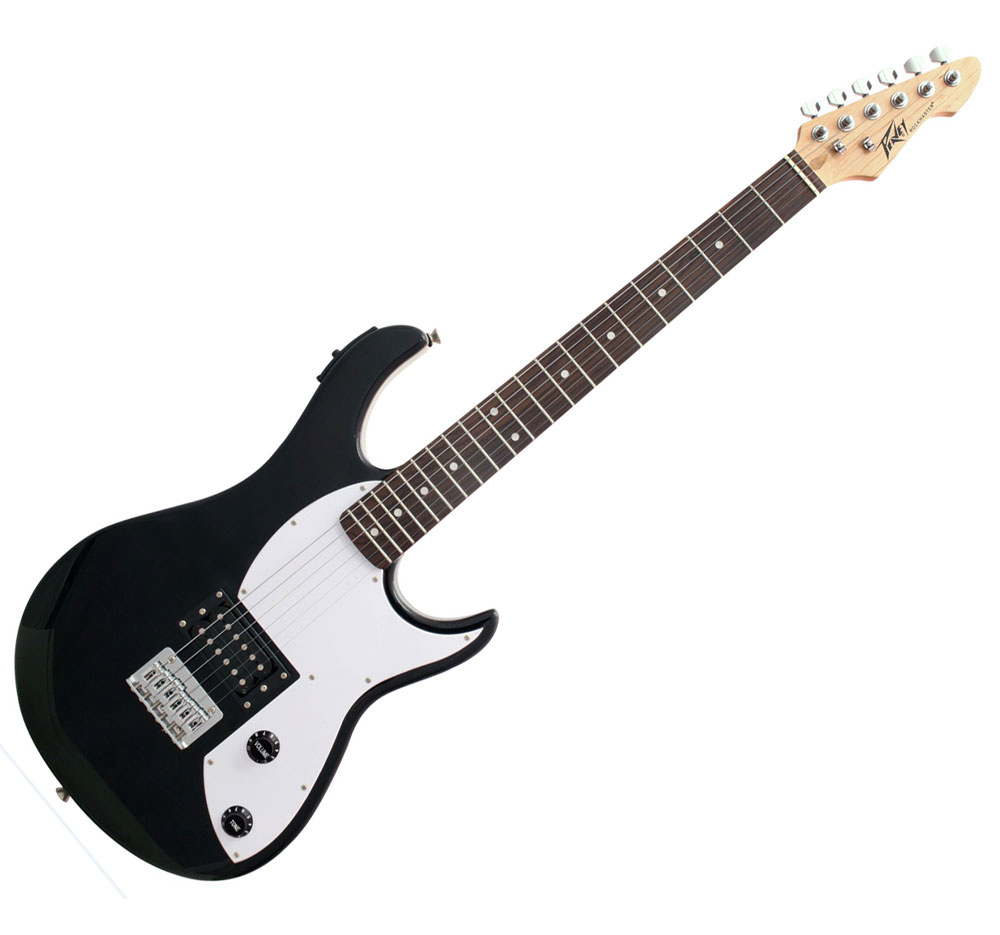 peavey rockmaster full size black white electric guitar with built in preamp demo model. Black Bedroom Furniture Sets. Home Design Ideas