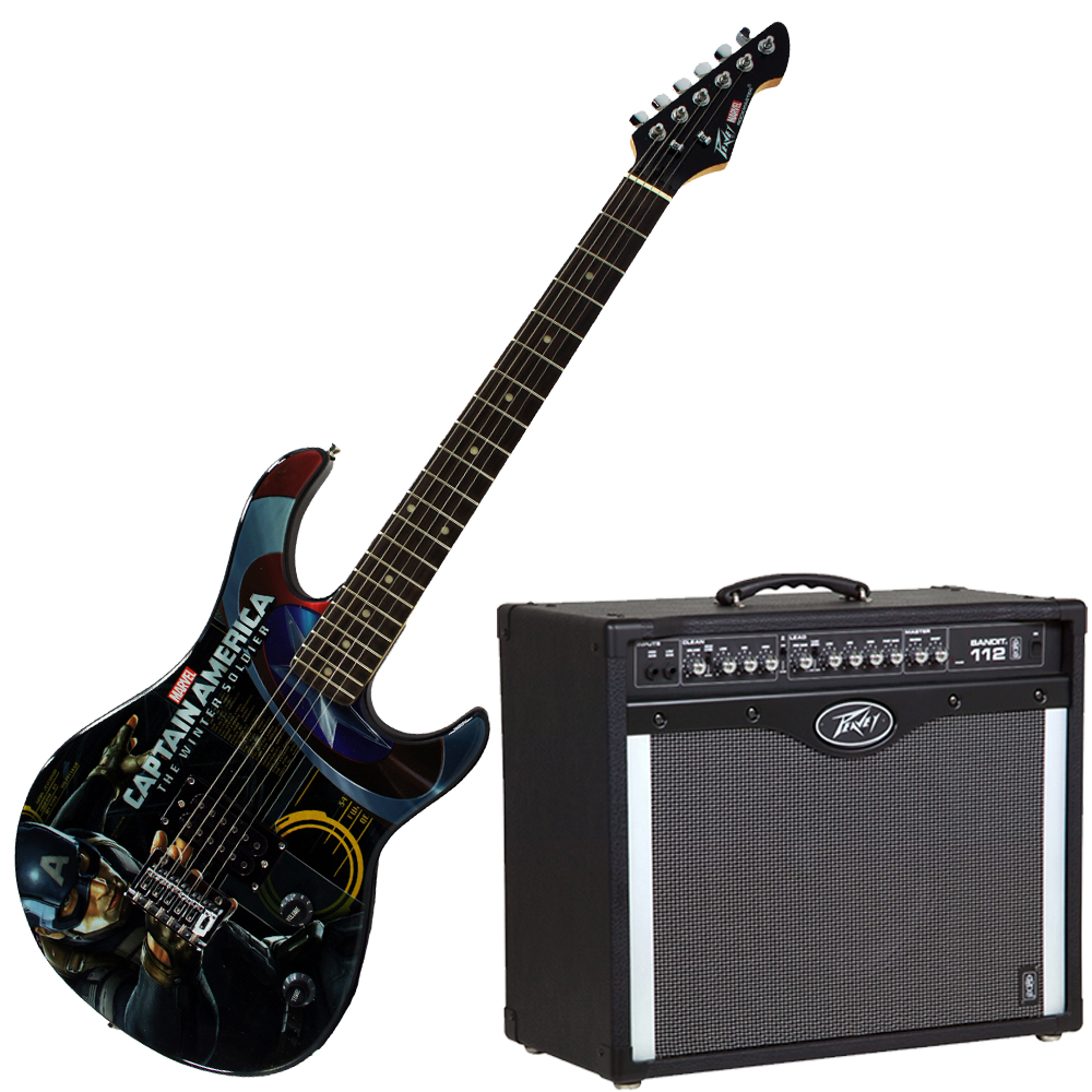 Peavey Bandit 112 Amp and Marvel Captain America Guitar