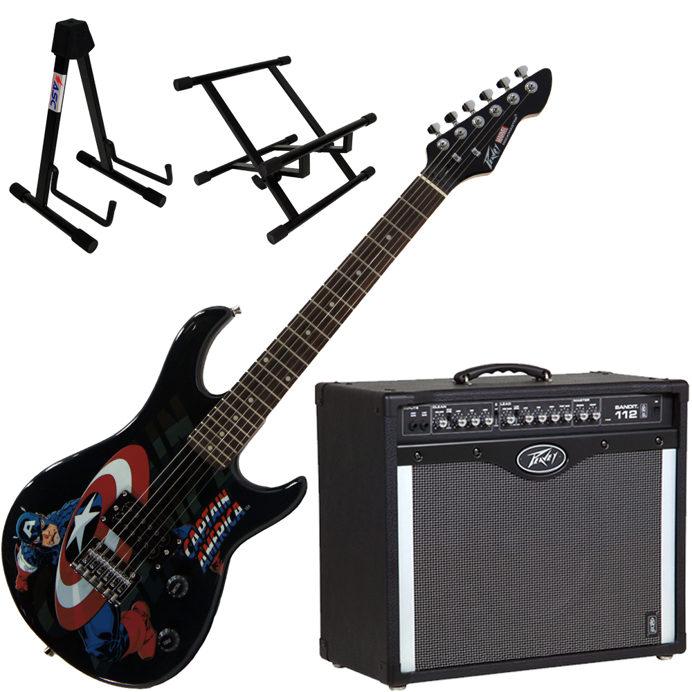 Peavey Bandit 112 Amp and 3/4 Size Marvel Captain America Guitar with Stands
