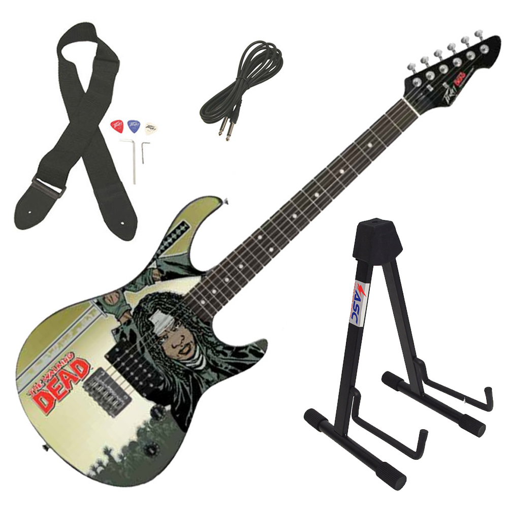 Peavey Rockmaster The Walking Dead Michonne Splash Electric Guitar & Stand New