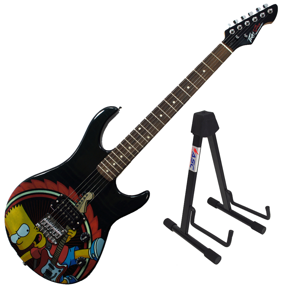 Peavey Rockmaster Full Size Simpsons Characters 21 Fret Electric Guitar & Stand