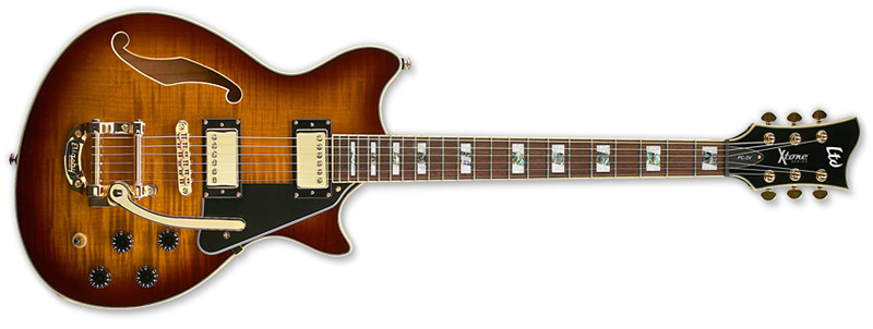 ESP LTD PC-2V X-Tone Paramount Hollow Body Electric Guitar Brown Sunburst Finish (XPC2VBSB)