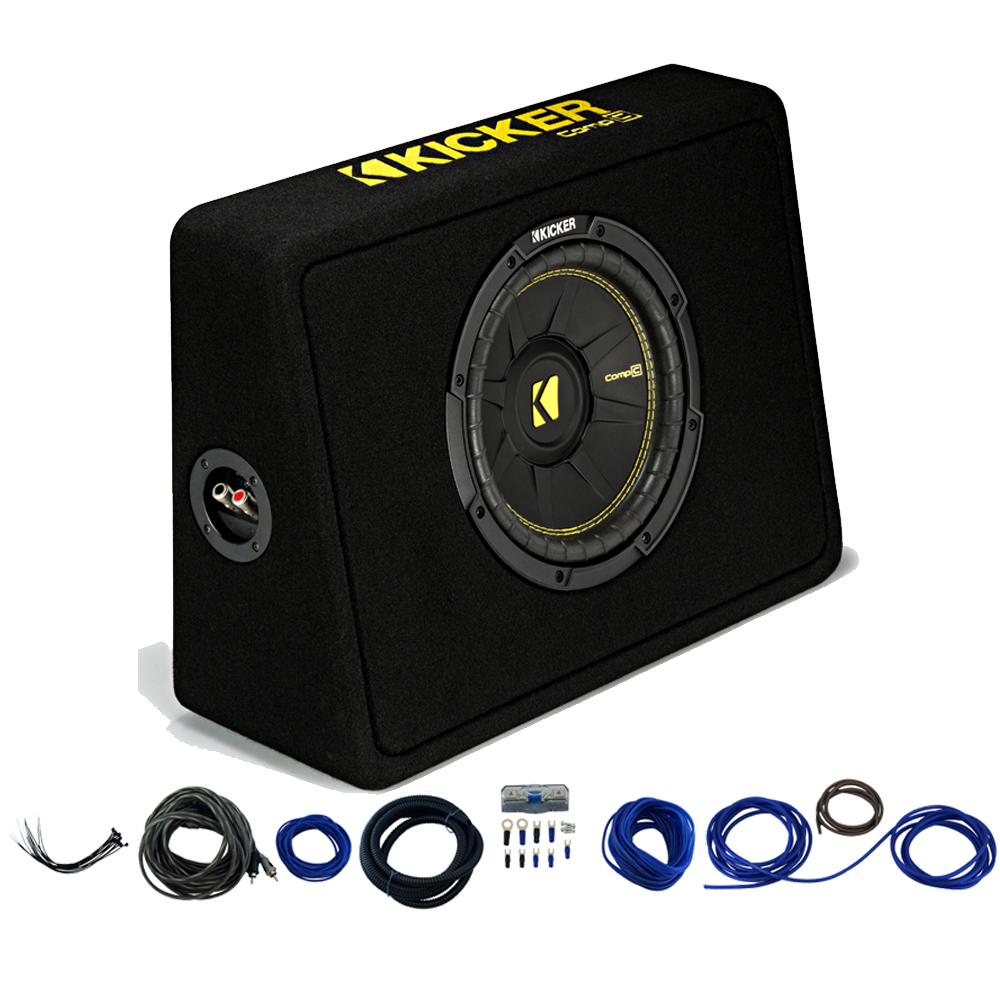 """Kicker 44TCWC104 10"""" CompC Loaded Subwoofer Enclosure & Car Audio Install Kit"""