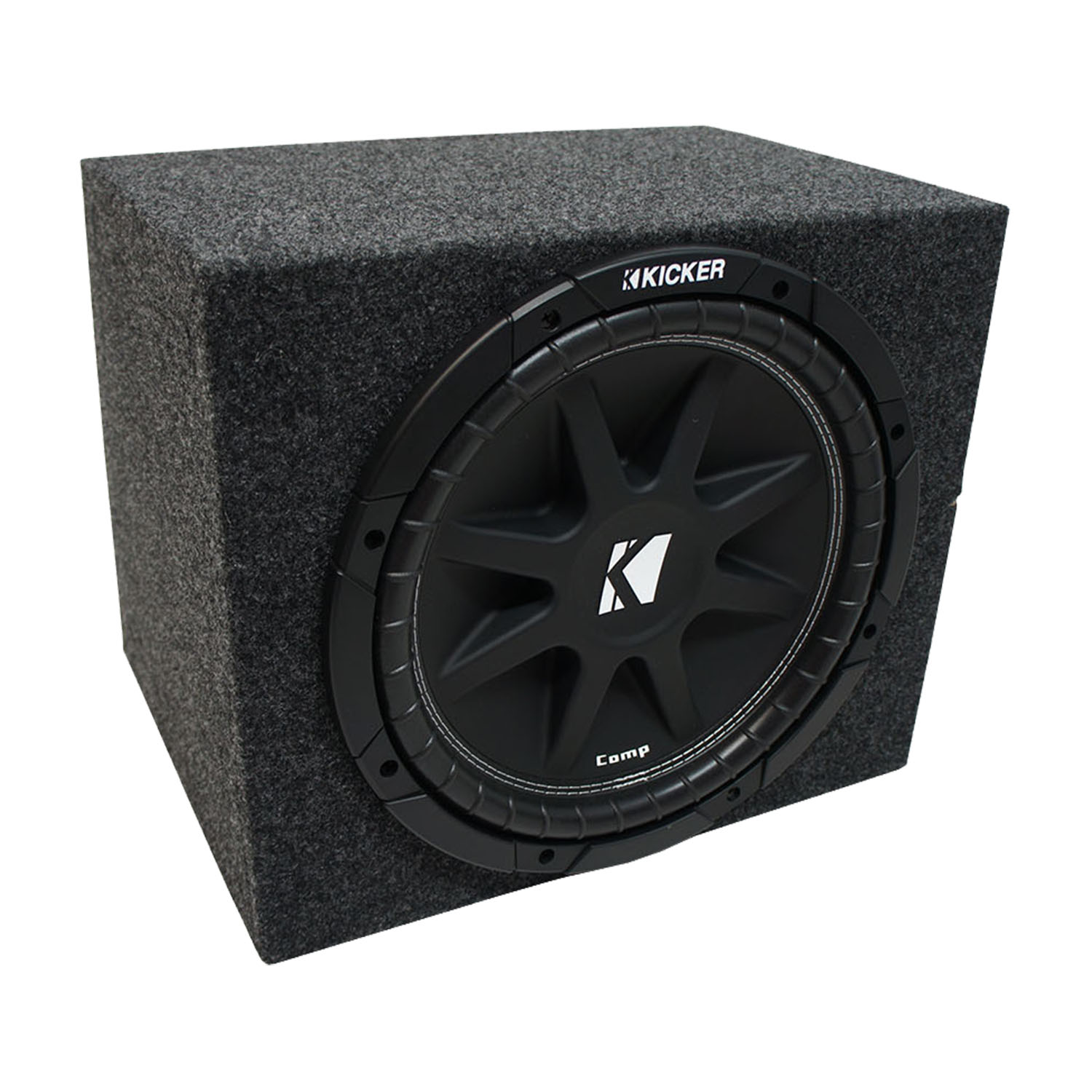 "Universal Car Stereo Single 12"" Kicker Comp C12 Bundle with Rearfire Sealed Sub Box Enclosure"
