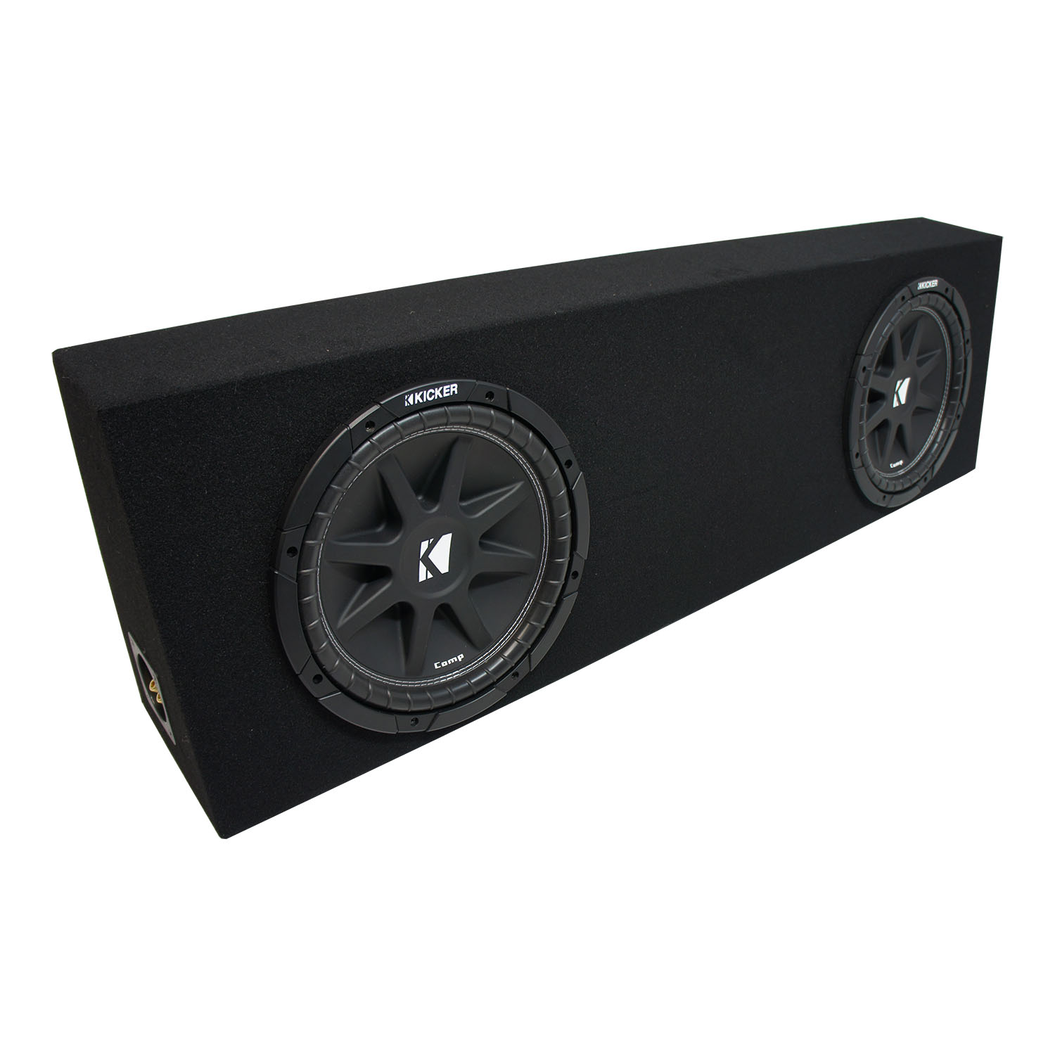 "Universal Regular Cab Truck Kicker Comp C10 Dual 10"" Black Sub Box Enclosure - Final 2 Ohm"