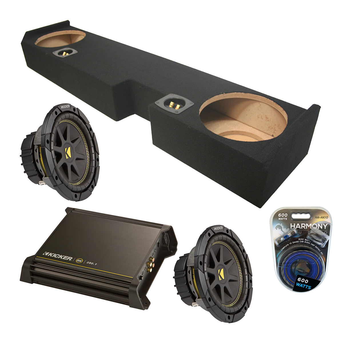 "Ford F-250 F-350 01-12 Kicker Powered Dual 10"" C10 Sub Box W/ DX250.1 & 10 Gauge Kit"