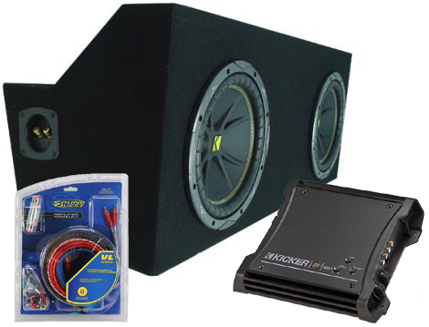 """Ford Mustang Coupe 05-08 Dual 10"""" C10 Sub Box Enclosure W/ ZX400.1 Amplifier"""