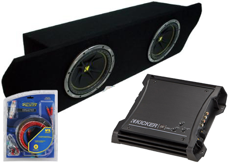 "Ford Mustang Coupe 94-04 Dual 12"" C12 Sub Box Enclosure W/ ZX400.1 Amplifier"