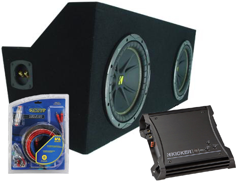 "Ford Mustang Coupe 05-08 Dual 12"" C12 Subwoofer Box W/ ZX400.1 Amplifier"