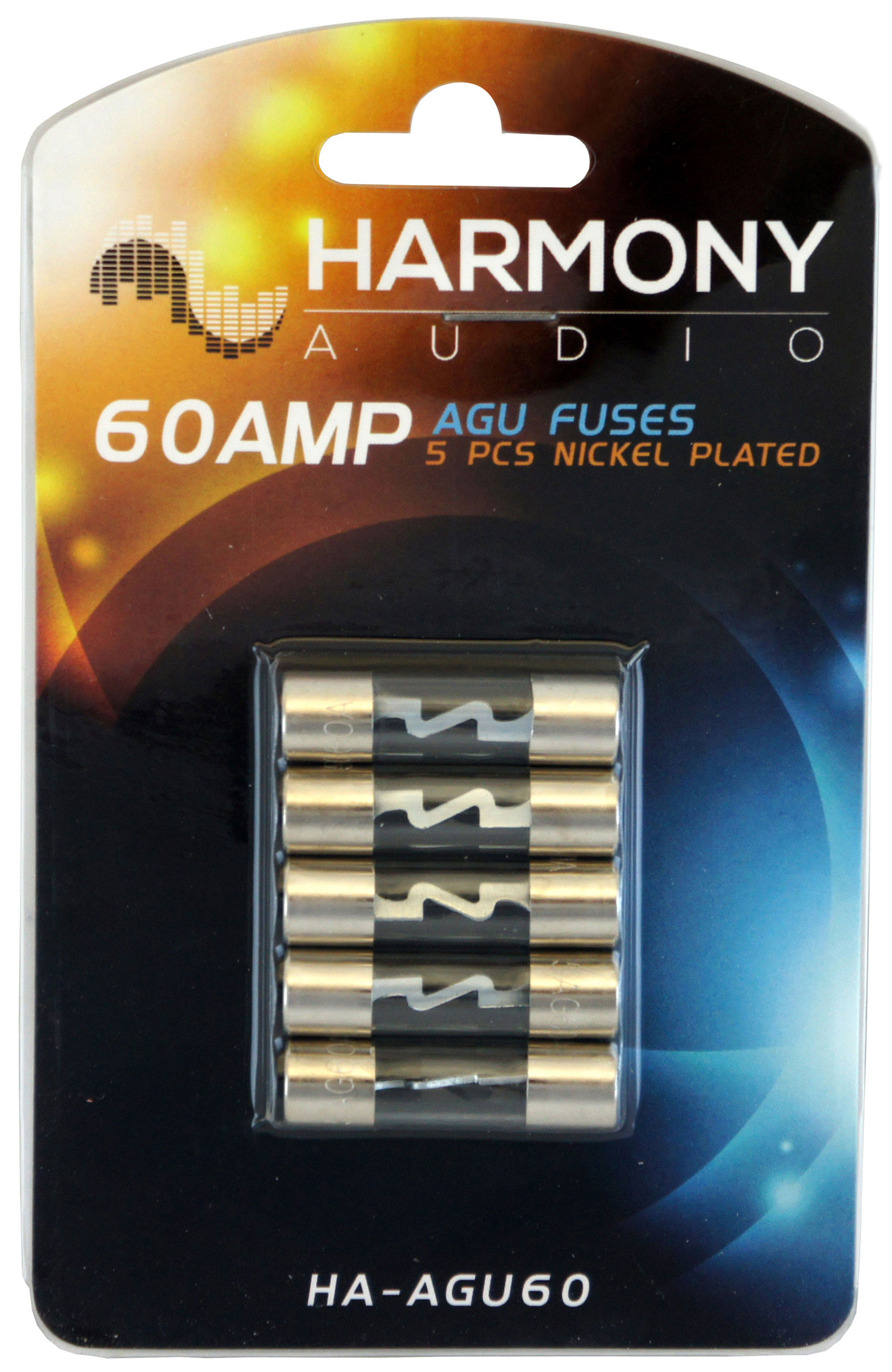 Fuses HA AGU60 detailed image 1 harmony audio ha agu60 car stereo fuseholder 5 pack 60 amp agu fuses