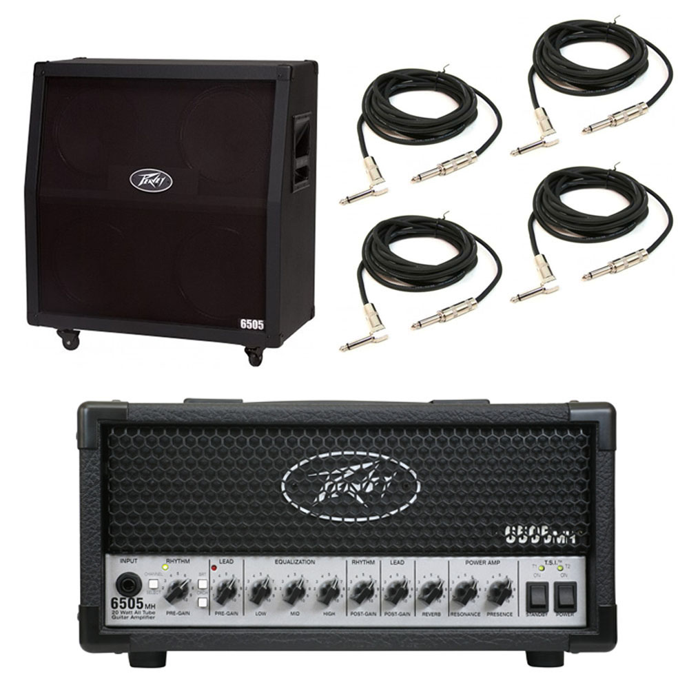 Peavey 6505 412 Slant Cabinet & 6505 MH Mini Head Electric Guitar Package Cables