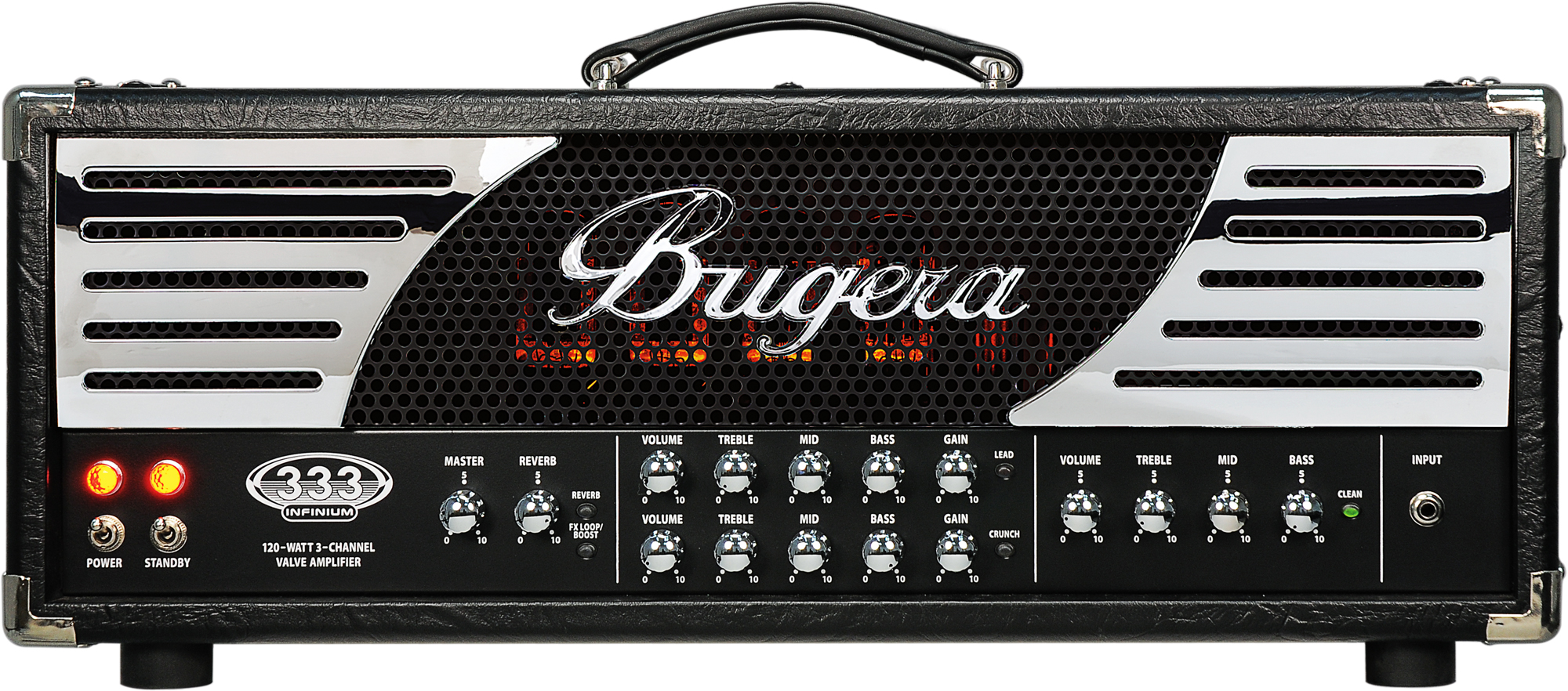 bugera 333 infinium hardcore 120 watt 3 channel valve guitar amplifier head with reverb and. Black Bedroom Furniture Sets. Home Design Ideas