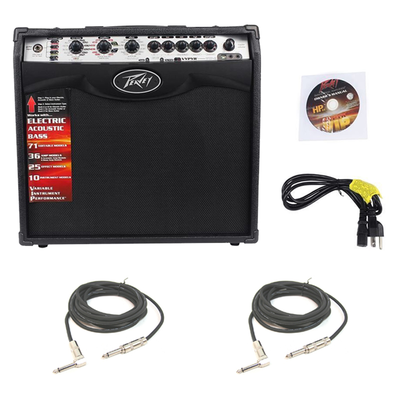 """Pevaey Vypyr VIP2 Combo Amp 12"""" Modeling Electric Guitar 40 Watt Amplifier with (2) 1/4"""" Instrument Cable Package"""