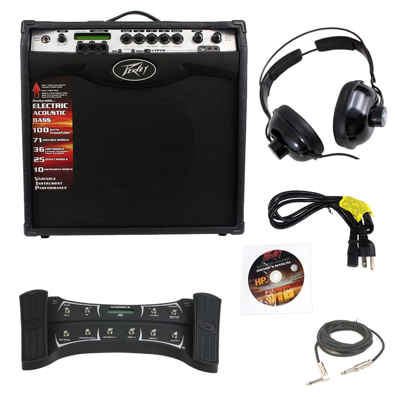 "Pevaey Vypyr VIP3 Combo Amp 12"" Modeling Electric Guitar 100 Watt Amplifier with Sanpera II Foot Controller, 1/4"" Cable & Headphones"