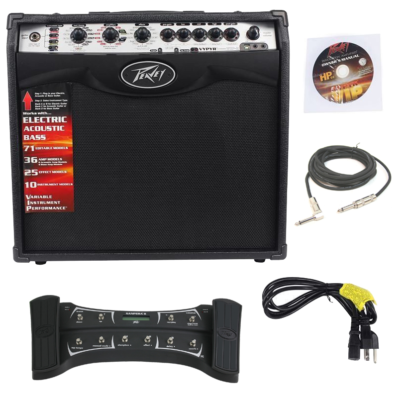 "Pevaey Vypyr VIP2 Combo Amp 12"" Modeling Electric Guitar 40 Watt Amplifier with Sanpera II Foot Controller & 1/4"" Cable"