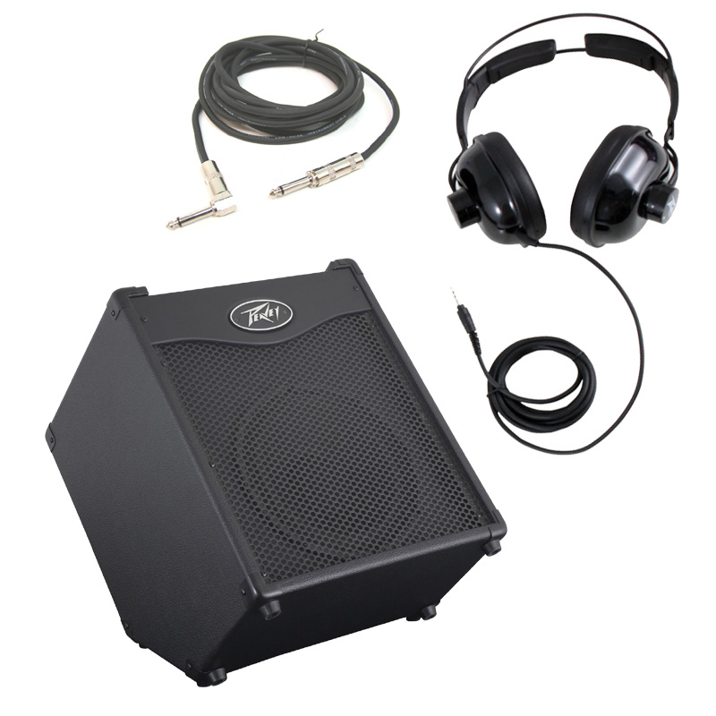 """Peavey MAX 110 Combo Amp 100W 10"""" Bass Guitar Amplifier with 1/4"""" Instrument Cable & Headphones"""