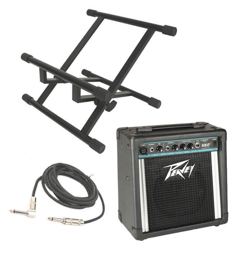 """Peavey Solo Electric Guitar Combo 12W Amp 8"""" Speaker with 1/4"""" Instrument Cable & Stand"""