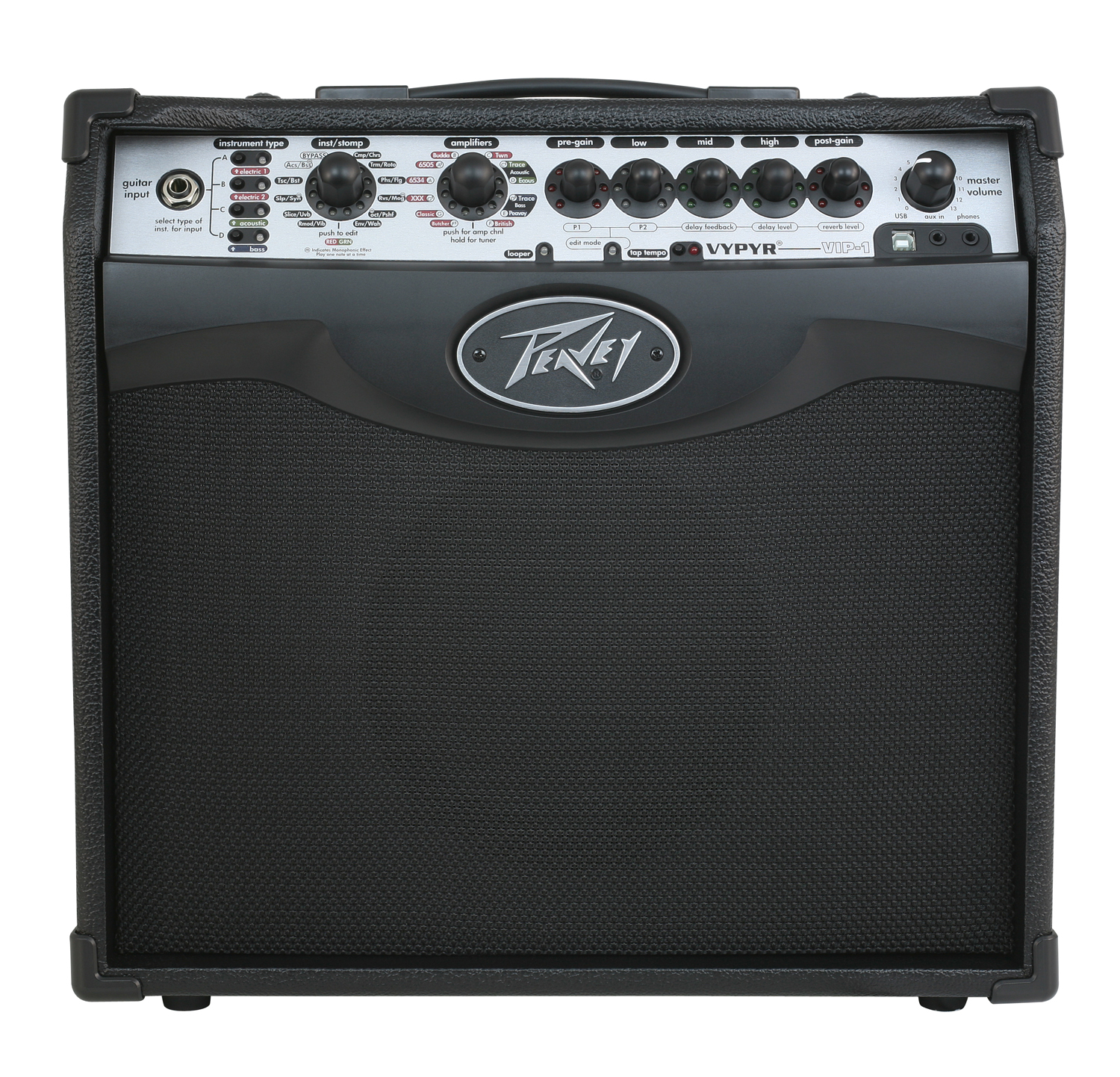 peavey vypyr vip 1 guitar amplifier w acoustic bass guitar simulation 3608060 pev13 3608060. Black Bedroom Furniture Sets. Home Design Ideas