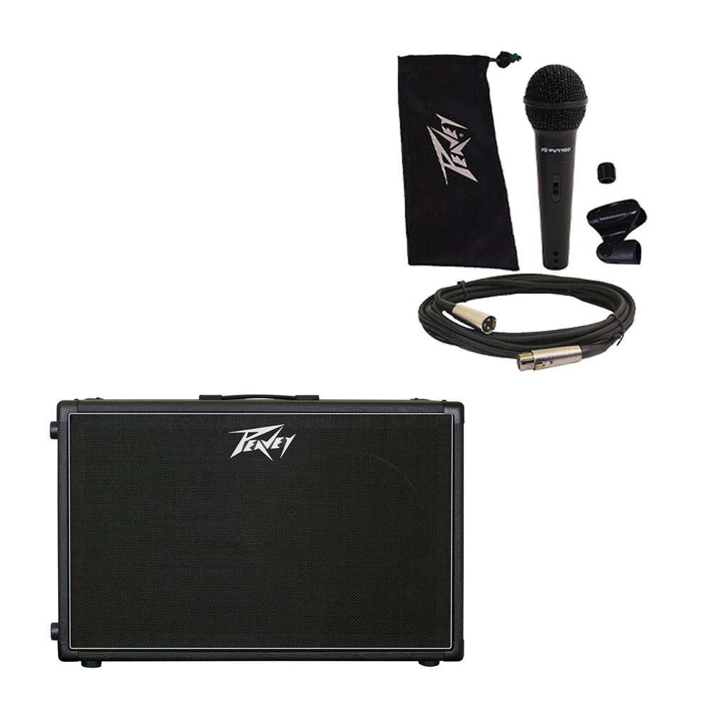 """Peavey 212-6 Electric Guitar Cab Dual 12"""" Speaker Cabinet w/ Mic Stand Cable new"""