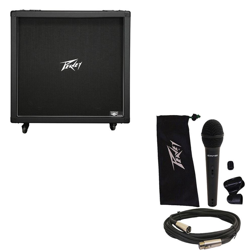 "Peavey 430B 412 Electric Guitar Straight Cabinet (4) 12"" Speakers Cab & Mic New"