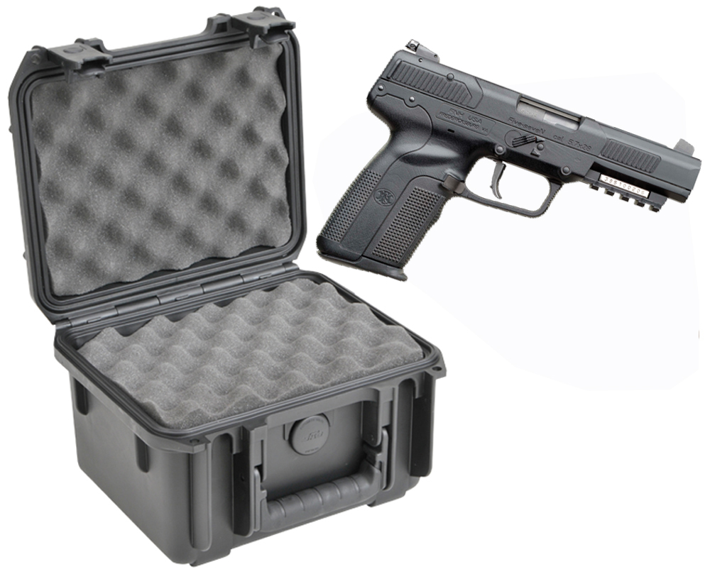 SKB 3I-0907-6B-L Waterproof Plastic Gun Case for FNH USA Five-Seven Semi-Auto 5.7x28mm Handgun Pistol