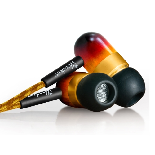 Bazooka IESW100V Vintage Woodees Stereo Earphones with Microphone For iPhone & 2G/3G/3GS/4 Smartphones