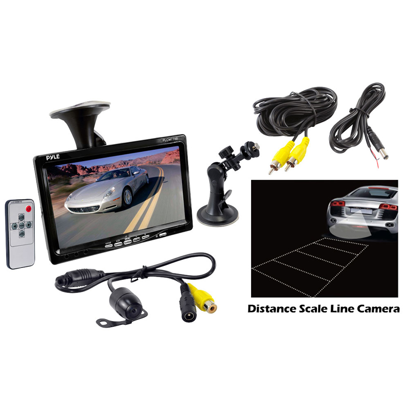 Pyle Car Audio PLCM7700 7' Window Suction Mount TFT / LCD Video Monitor w/ Universal Mount Rearview Backup Color Camera w/ Distance Scale Line Camera