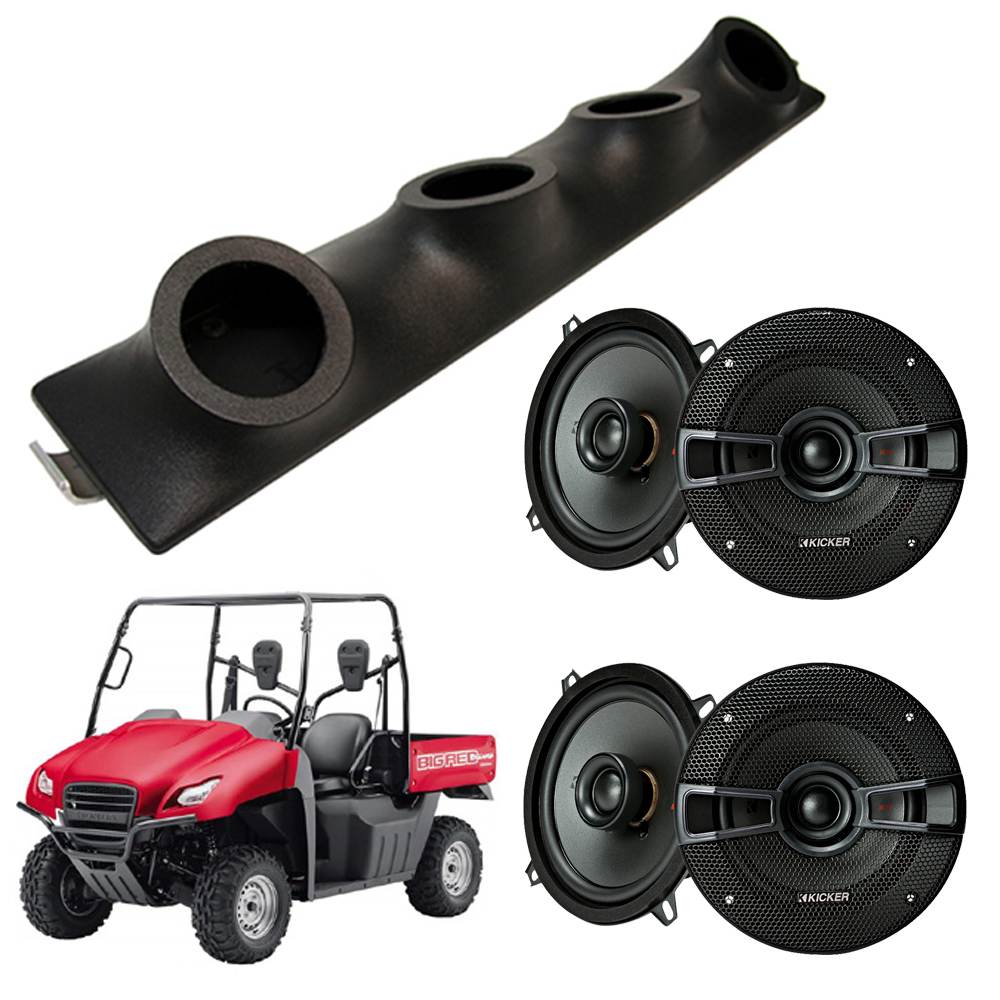 "Honda Big Red Kicker System KSC50 Custom Quad (4) 5 1/4"" Speakers Power Sports UTV Pod"