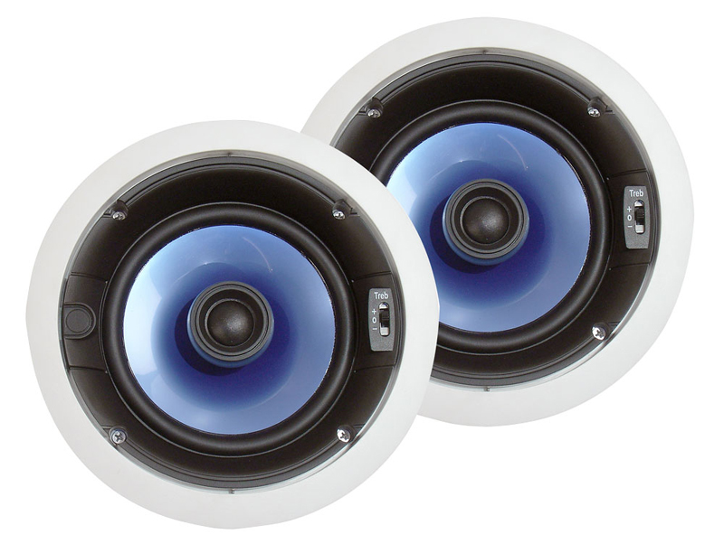 Pyle Home Audio PIC6E 250 Watt 6.5' Two-Way In-ceiling Speaker System w/ Adjustable Treble Control (Pair)