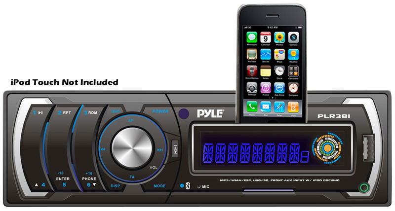 Pyle Car Audio PLR38I AM / FM / MP3 / WMA Detachable Face Player with USB / SD Reader & Ipod Interface