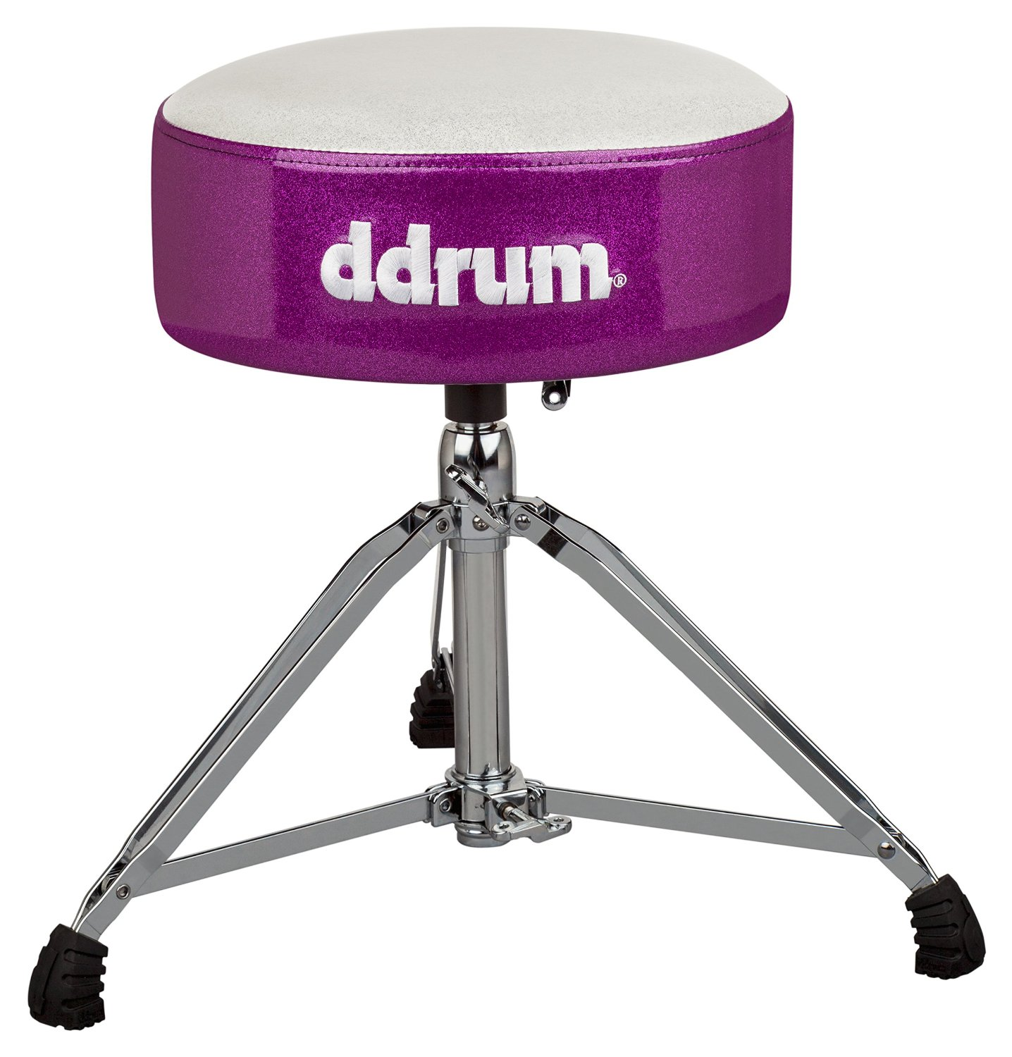 """dDrum Mercury Series Fat Throne with 5.5"""" Thick Padding - White Top/Purple Side (MFAT WP)"""