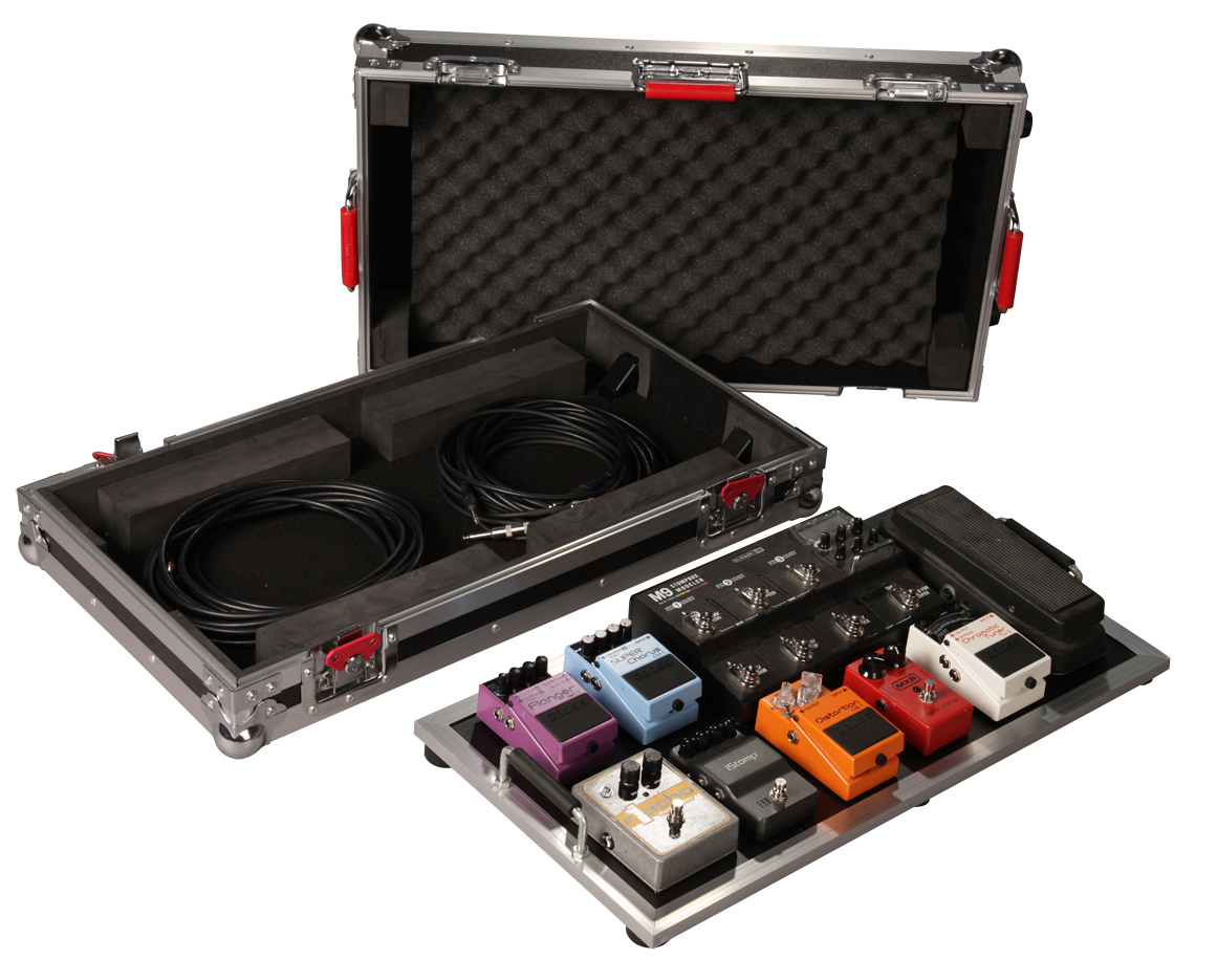 """Gator Cases G-TOUR PEDALBOARD-LGW Large TOUR Grade Pedal Board for 10-14 Pedals with 3M """"Dual Lock"""" Pedal Fastener. Removable 11""""x24"""" board surface & inline wheels"""