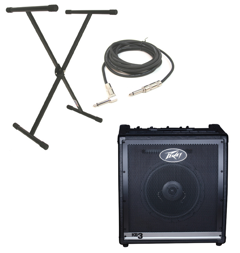 "Peavey KB3 Electronic Keyboard Combo 60W Amp 12"" Speaker with X-Brace Stand & 1/4"" Jack Cable"
