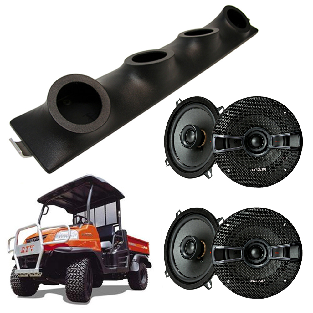 "Kubota RTV Kicker System KSC50 Custom Quad (4) 5 1/4"" Speakers Power Sports UTV Pod"