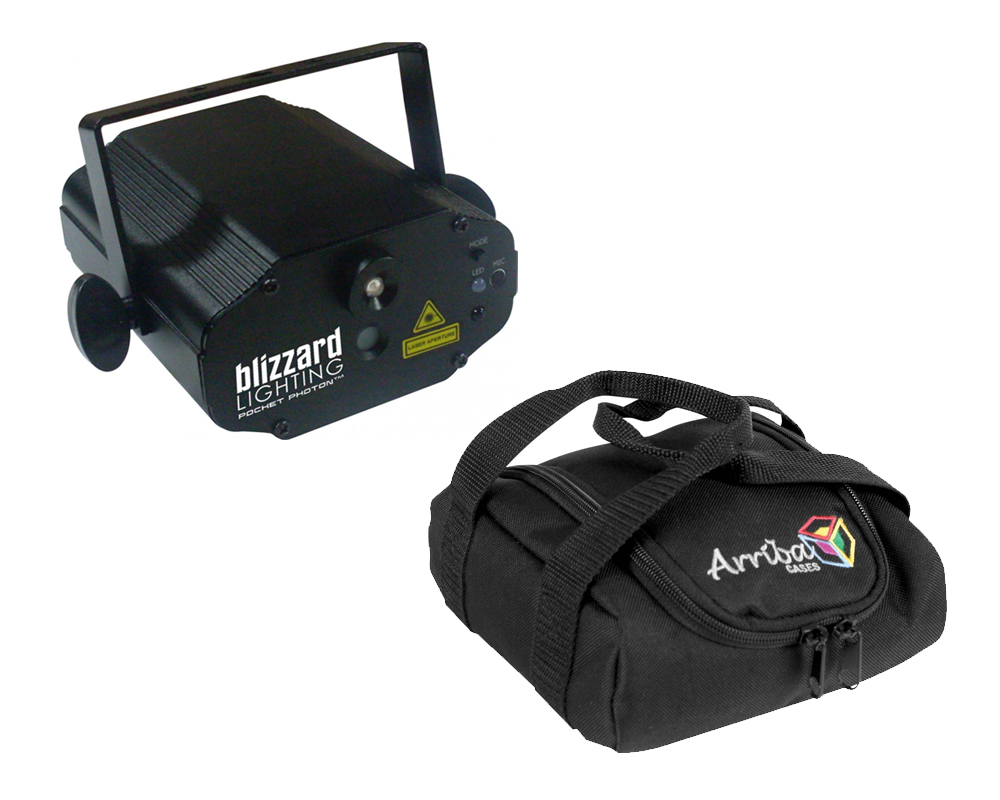 Blizzard DJ Pro Lighting Pocket Photon Compact Red Green & Blue Laser Effect Light with Travel Bag