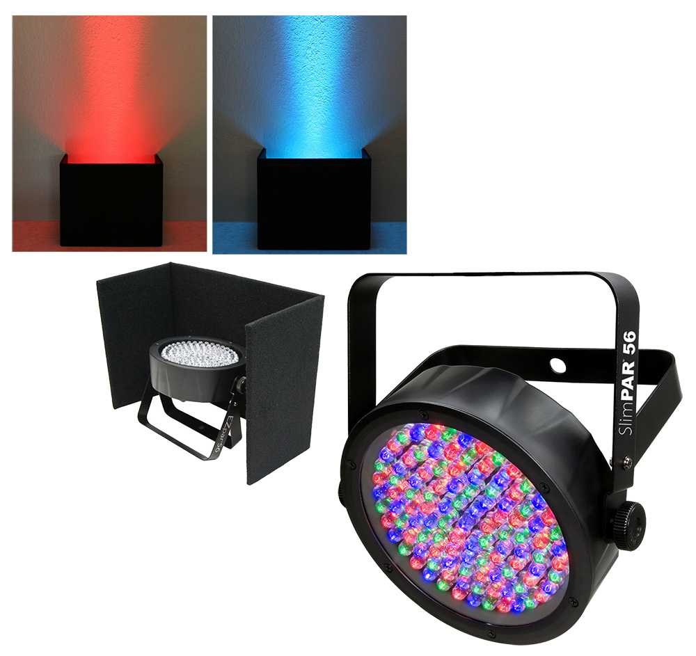 Chauvet DJ Lighting Slimpar 56 Compact Low Profile RGB LED Uplighting Wash with Black Up Light Cover Package