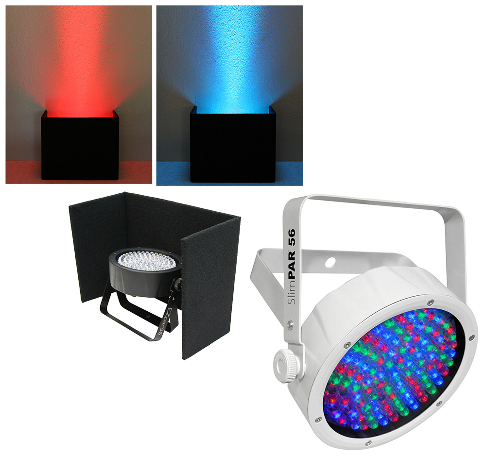 Chauvet DJ Lighting Slimpar 56 White Low Profile RGB LED Uplighting Wash with Black Up Light Cover Package