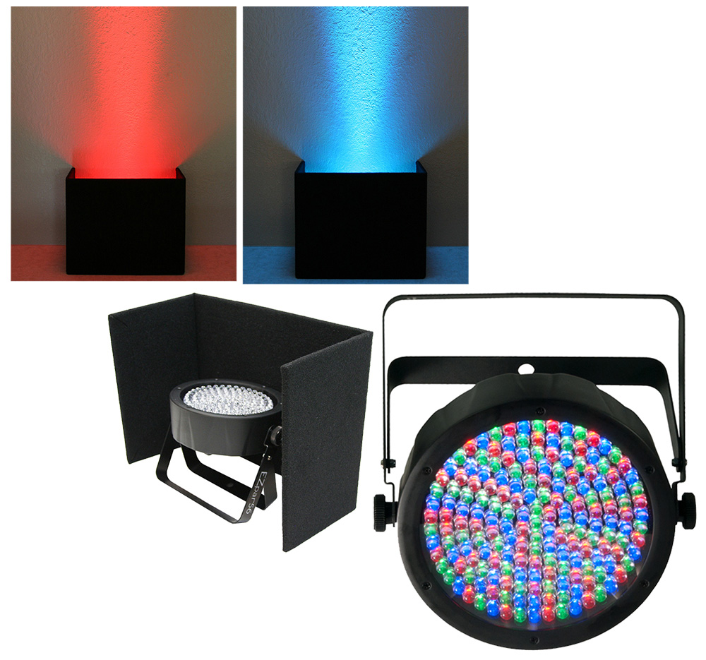 Chauvet DJ Lighting Slimpar 64 Compact Low Profile RGB LED Uplighting Wash with Black Up Light Cover Package